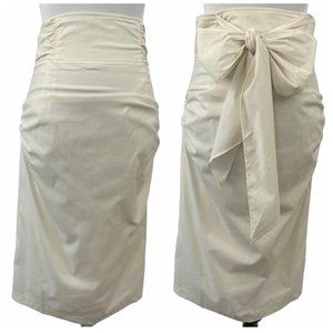 Lucy Paris High Waisted Sash Bow Back Midi Skirt L